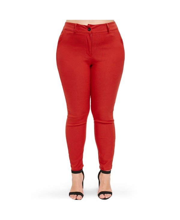 High Waist Plus Size Straight Pants