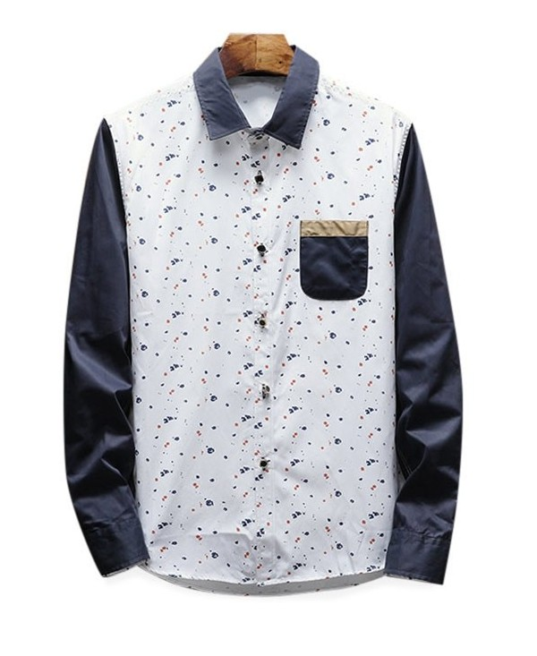 Patchwork Contrast Spot Print Long Sleeve Shirt
