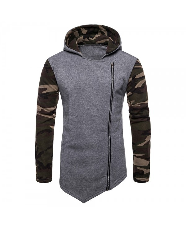 Asymmetric Camouflage Panel Zip Up Hoodie