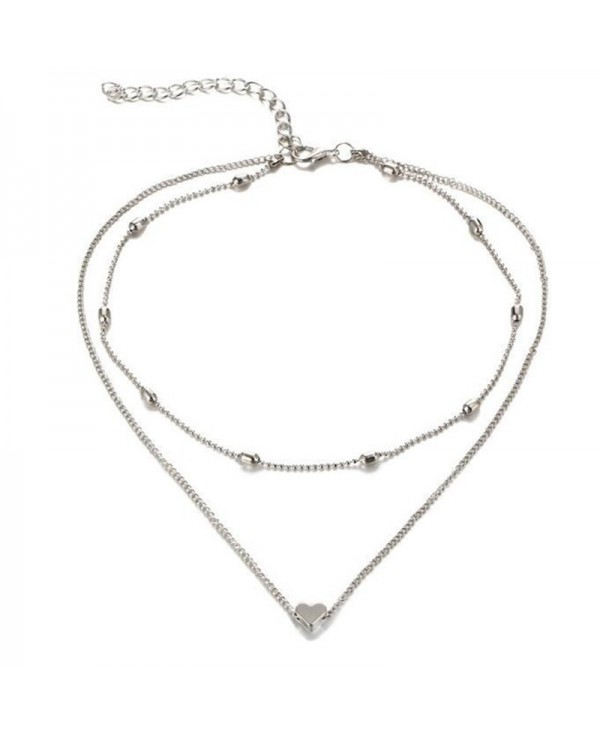 Elegant and Fashionable Women's Peach Heart Multi Layer Necklace