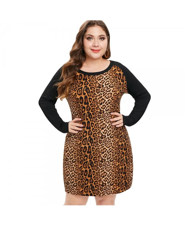 Plus Size Long Sleeves Leopard Bodycon Dress