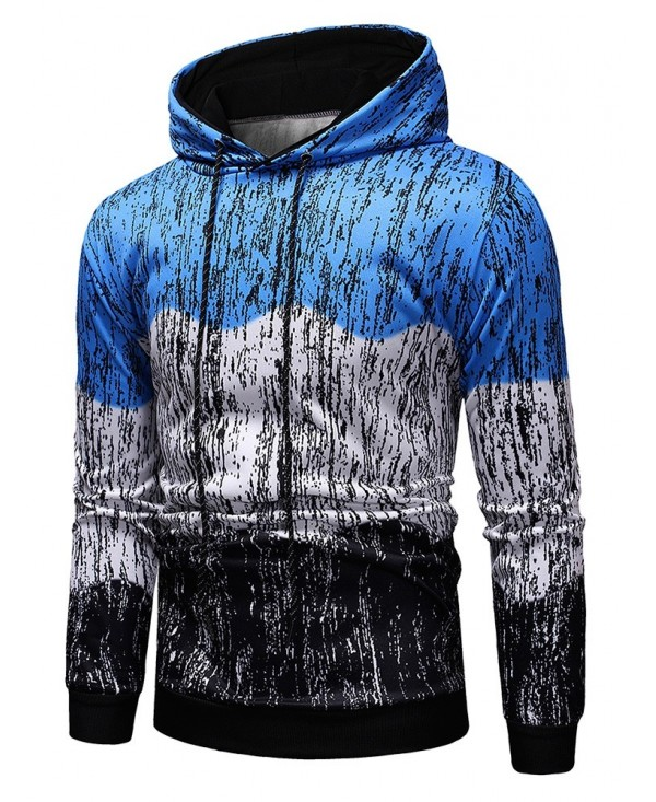 Contract Color Splash-ink Printed Pullover Hoodie