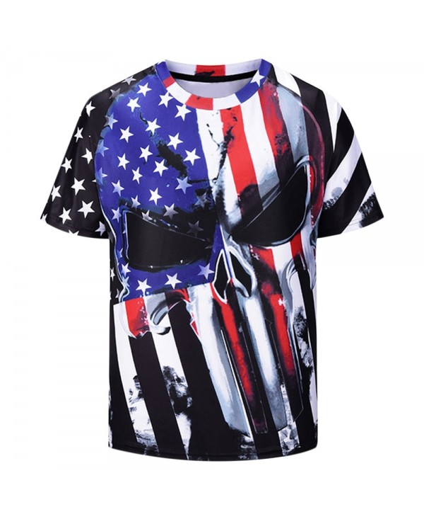 Flag Print Elastic Short Sleeve T-shirt