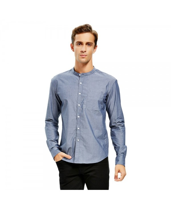 Men Band Collar Cotton Dress Shirt