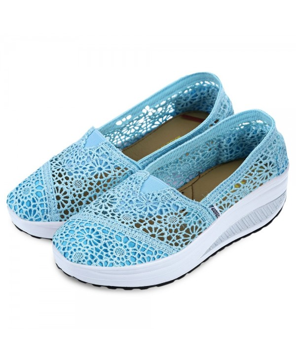 Casual Lace Design Hollow Out Slip On Platform Shoes for Ladies