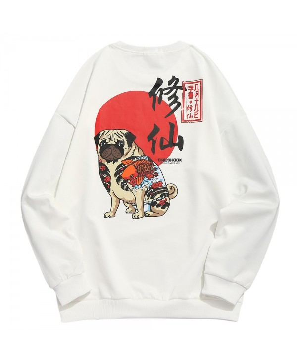 Puppy Chinese Print Casual Sweatshirt