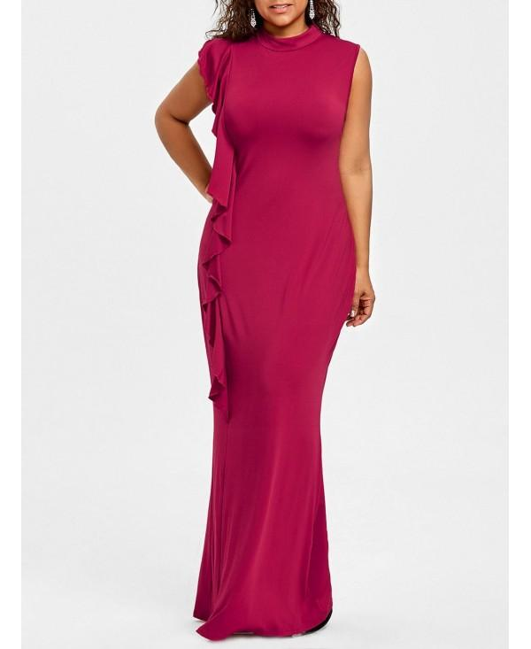 Plus Size Ruffle High Neck Maxi Dress