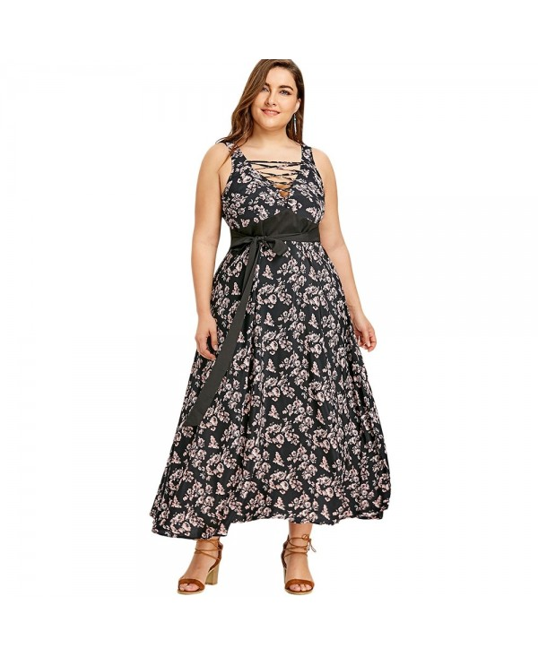Plus Size Criss Cross Floral Belted Dress