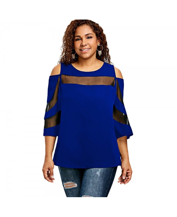 Plus Size Flare Sleeve Mesh Insert Top