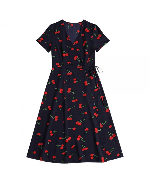 V Neck Short Sleeve Vintage Pattern A-line Women Midi Wrap Dress