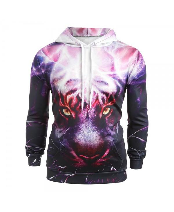 3D Lion Head Print Pocket Pullover Hoodie
