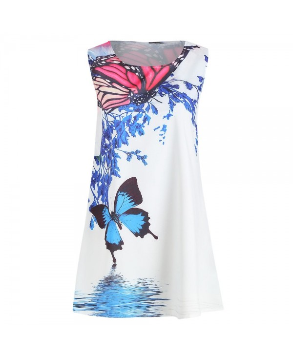 Sleeveless Butterfly Print Casual Dress