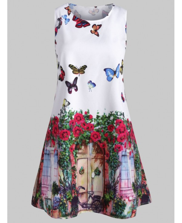 Butterfly Print Swing Sleeveless Dress