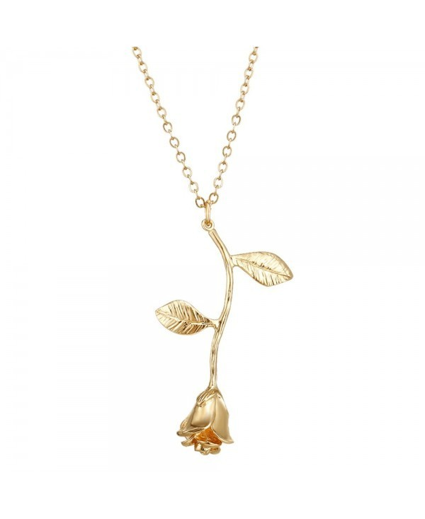 Alloy Rose Flower Pendant Necklace