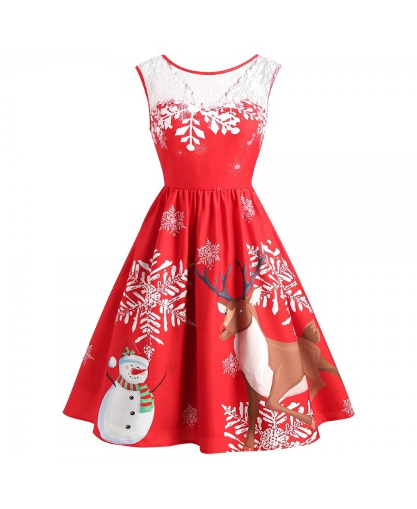 Vintage Christmas Snowflake Print Dress