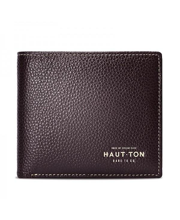 Hautton Bifold Simple Genuine Leather Wallets for Men Money Clip - Made From Full Grain Leather