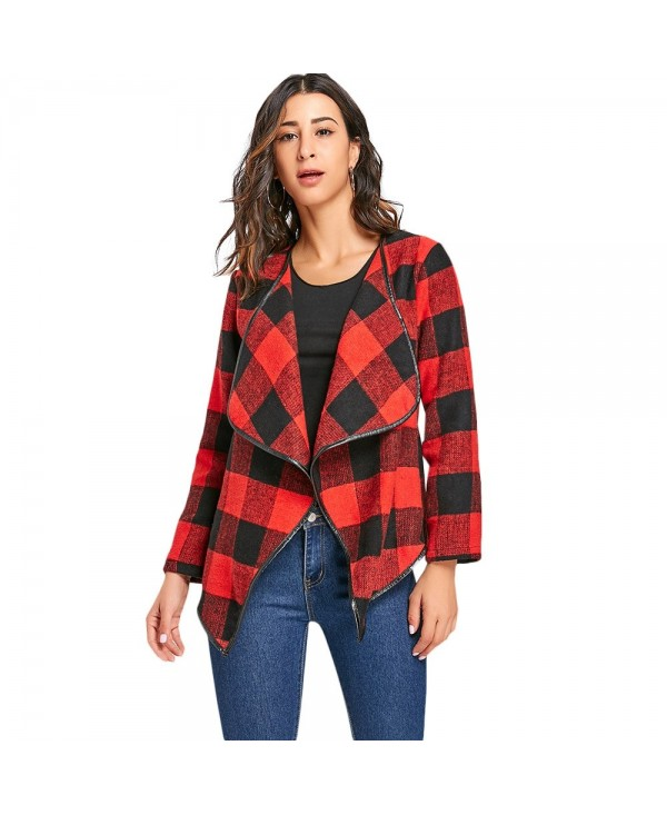 Turn-down Collar Plaid Jacket