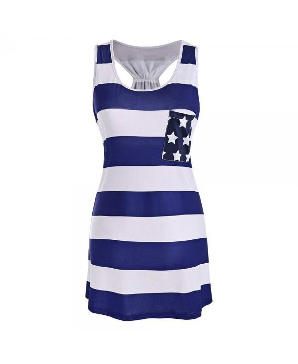 American Flag Bowknot Patriotic Racerback Tank Dress