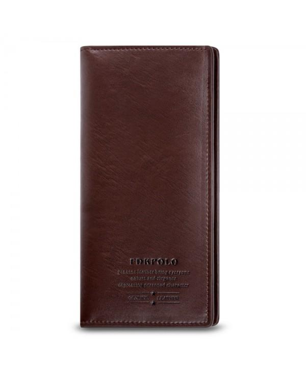 Men Genuine Leather Long Clutch Bifold Slim Male Wallet