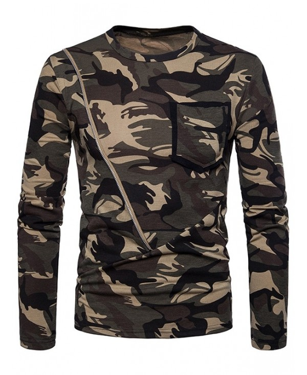 Chest Pocket Long Sleeve Camouflage T-shirt