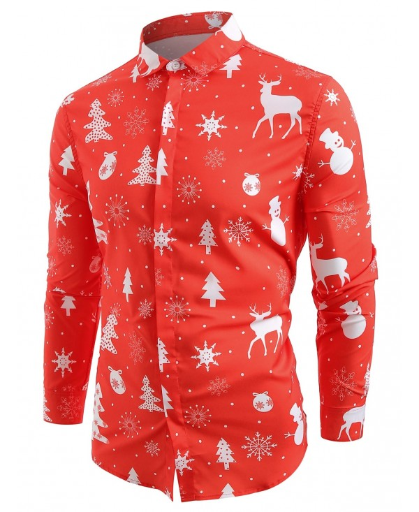 Hem Curved Christmas Elements Print Button Up Shirt