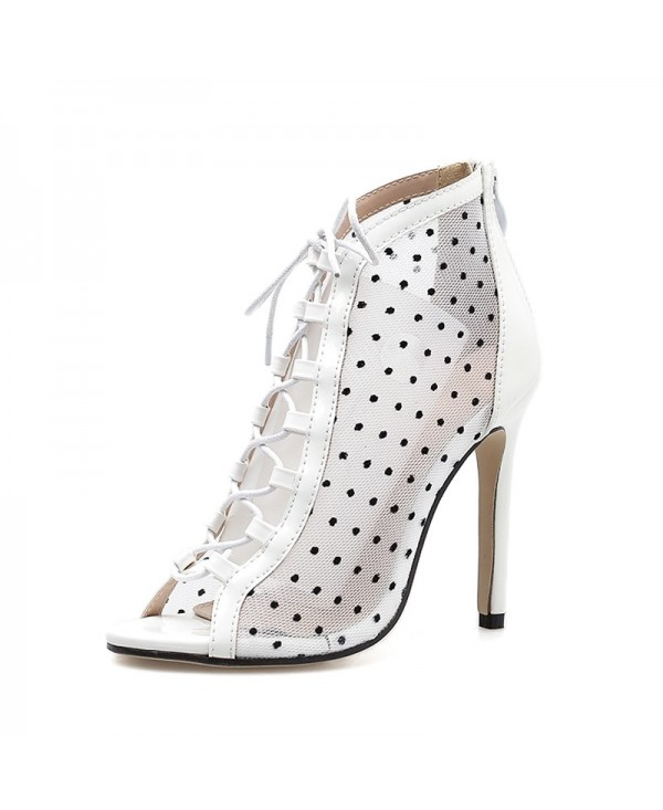 Women's Peep Toe Stiletto High Heels Sweet Sandals with Checkered