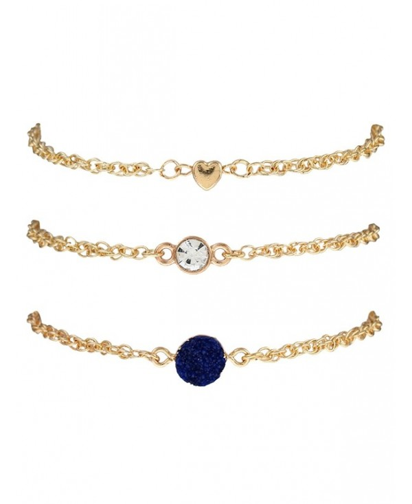 Rhinestone Natural Stone Heart Bracelet Set