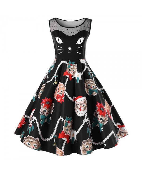 Christmas Plus Size Kitten Swing Dress