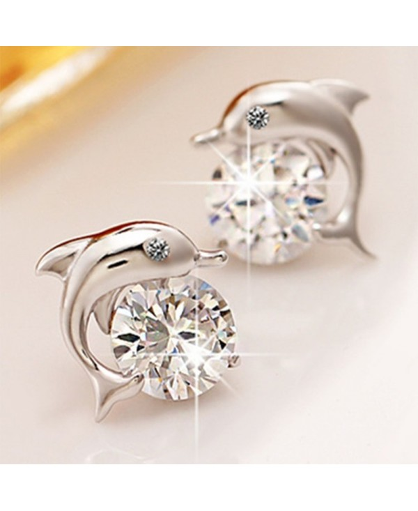 Pair of Lovely Crystal Eye Dolphin Stud Earrings