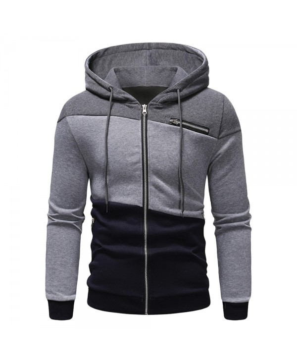 Zipper Drawstring Panel Hoodie