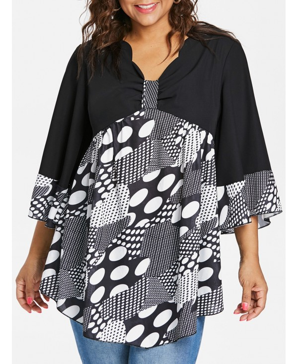 Plus Size Flare Sleeve V Neck Blouse