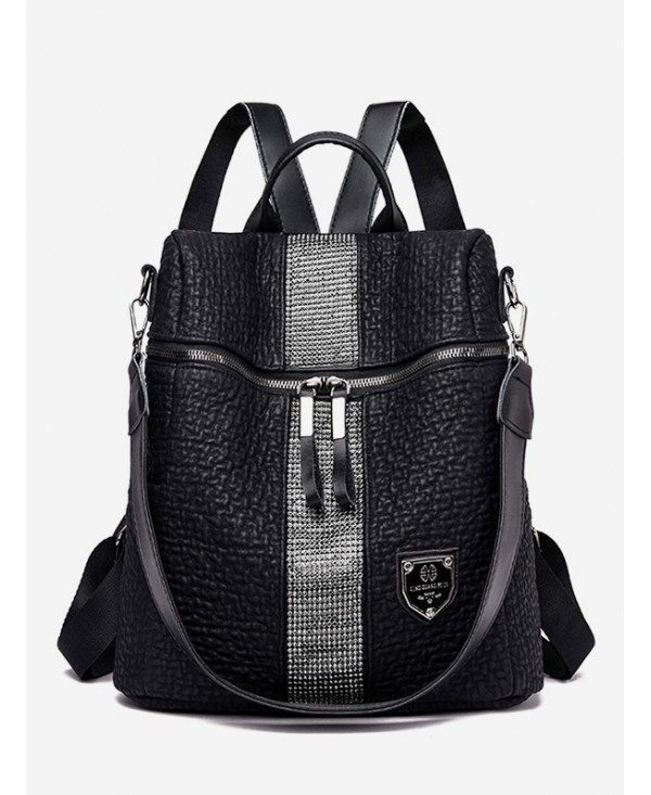 Striped Insert PU Zipper Backpack