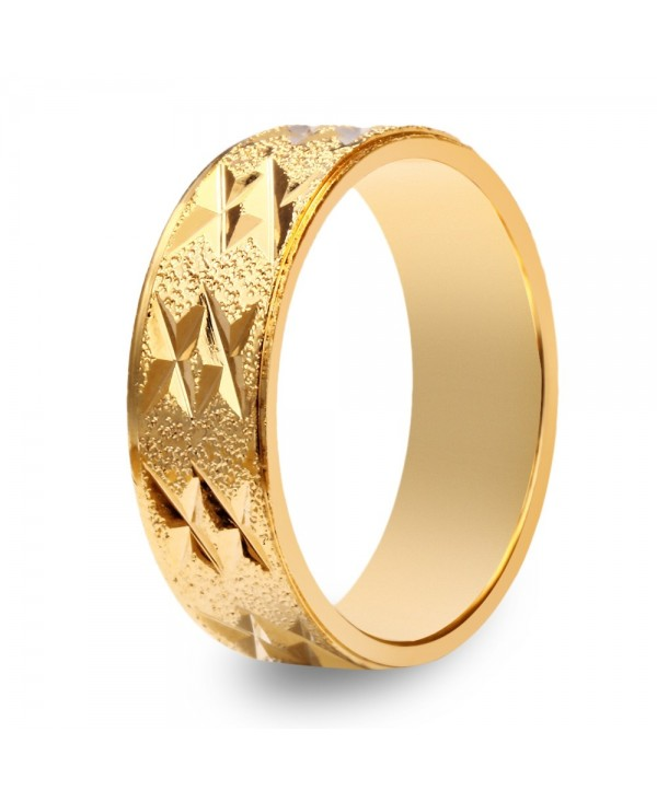18K Electroplate Gold Color Geometric Pattern Ring for Men