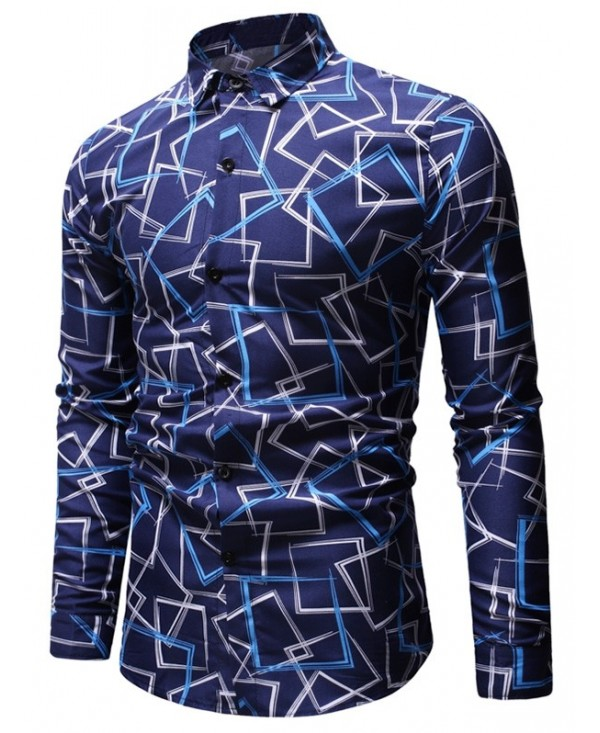 Geometric Print Long Sleeves Button Down Shirt