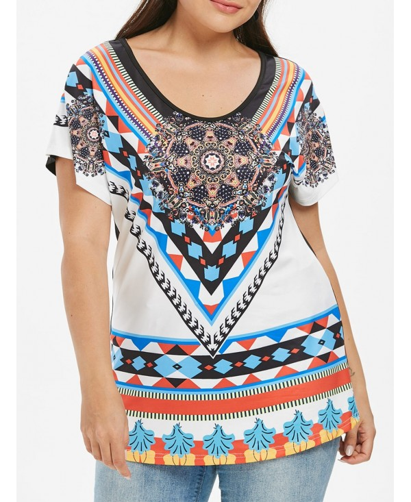 Plus Size African Print Tunic T-shirt
