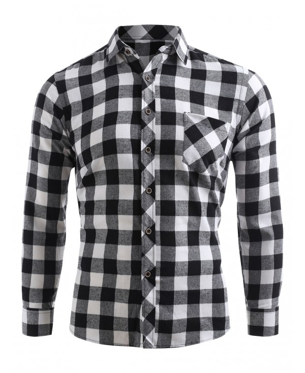 Plaid Print Pocket Button Up Long Sleeve Shirt
