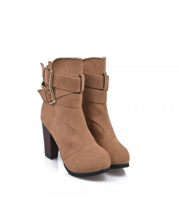 High Heel Coarse And Waterproof Platform Frosted Boot