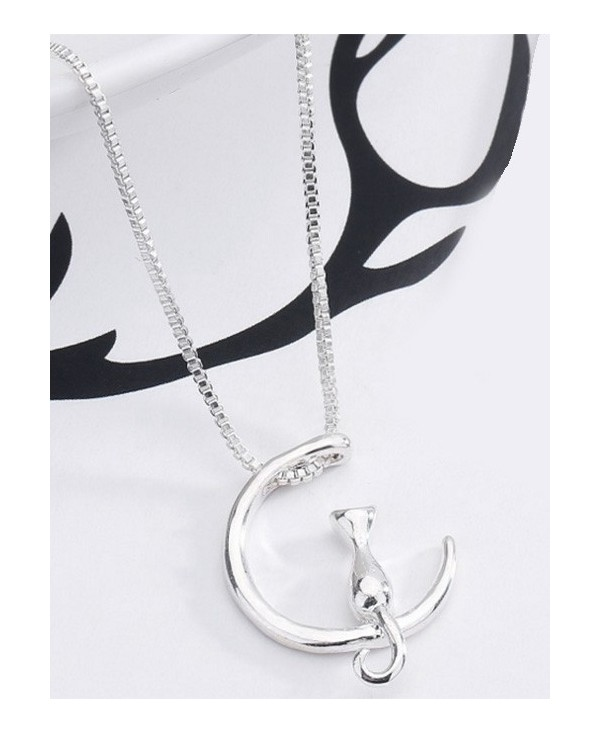 Moon Kitten Collarbone Pendant Necklace