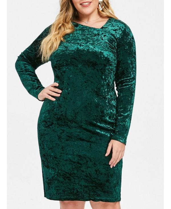 Knee Length Plus Size Skew Neck Velvet Dress