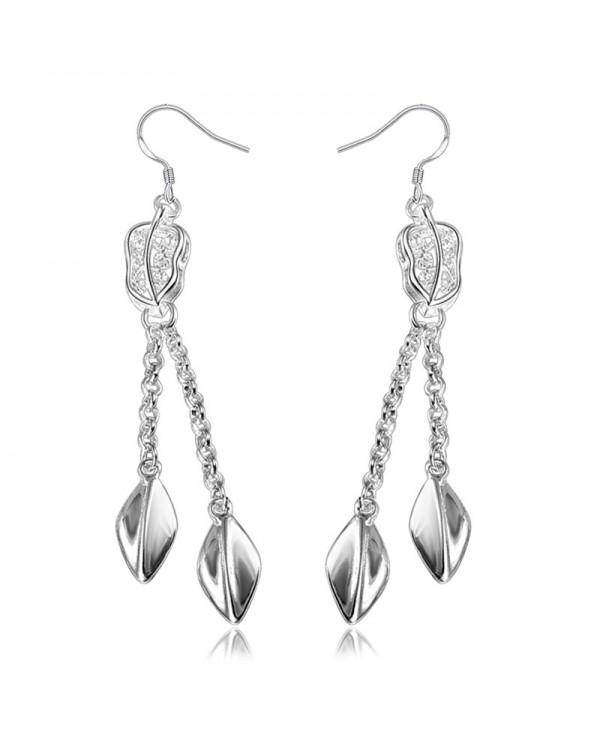 Women'S Fashion 925 Silver Plated Earring Eardrop Leaves
