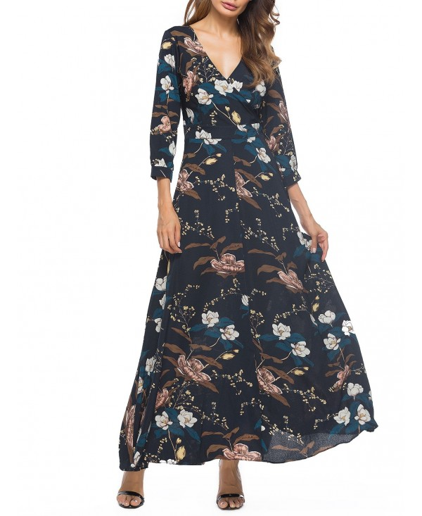 Floral Print Surplice Maxi Dress