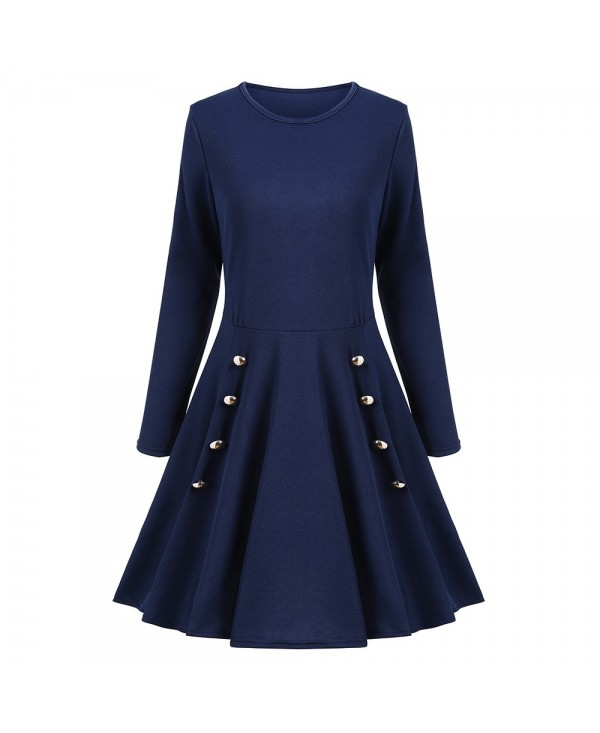 A Line Long Sleeves Buttoned Dress