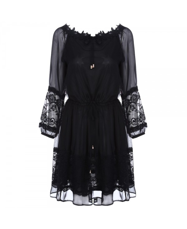 Sexy Round Collar 3/4 Sleeve See-through Lace Women Dress
