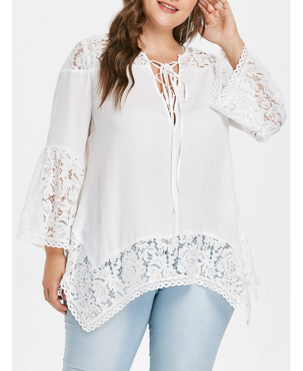 Plus Size Lace Up Asymmetrical Lace Blouse