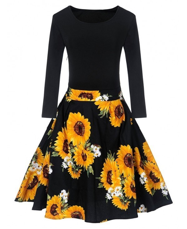 Vintage Sunflower Print Fit and Flare Dress