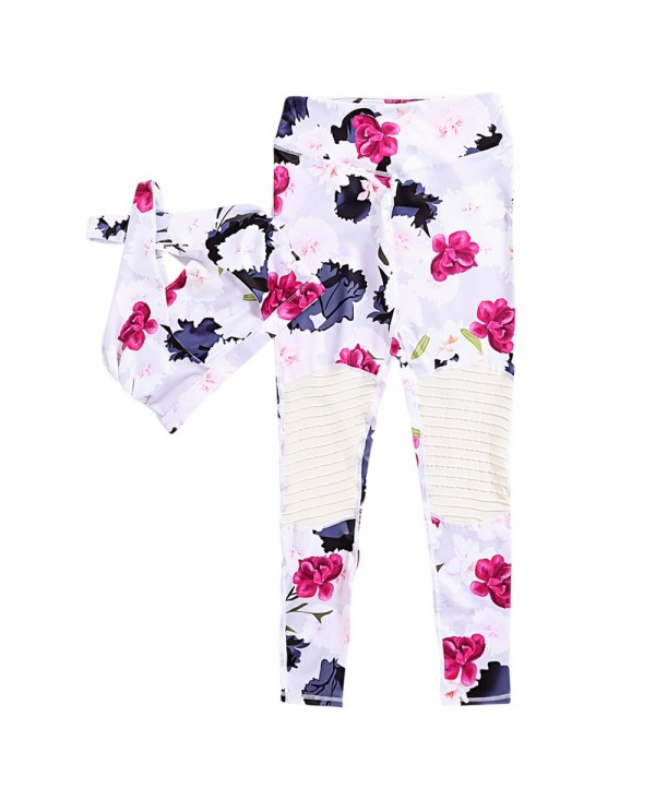 Halter Neck Criss-cross Strap Padded Floral Print Spliced High Waist Elastic Women Yoga Suit