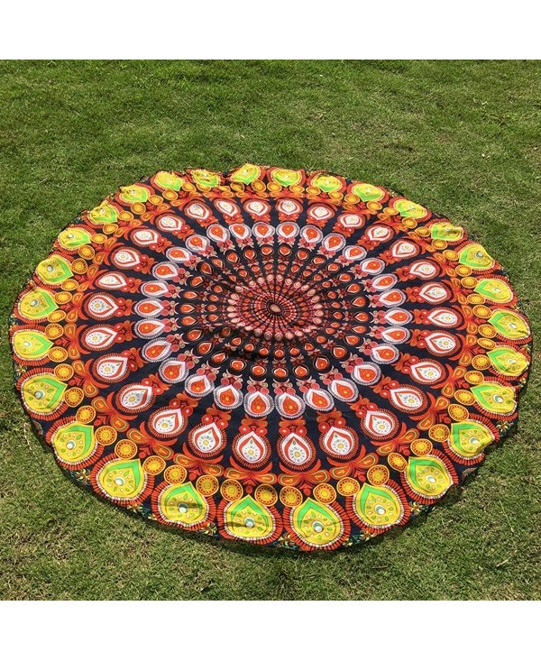 Autumn Feather Mandala Print Round Beach Throw