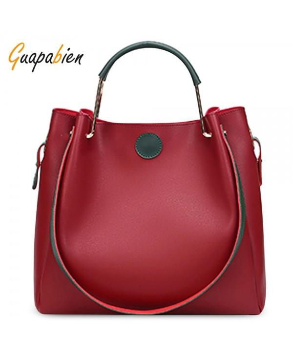 Guapabien 2pcs Women Handbag PU Leather Shoulder Crossbody Tote Bag
