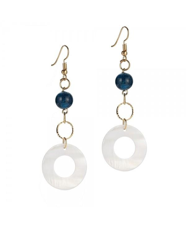 Fashion Simple Bead Round Shell Drop Earrings