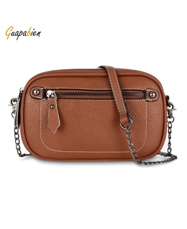 Guapabien Women Messenger Chain Shoulder PU Leather Solid Color Crossbody Bag